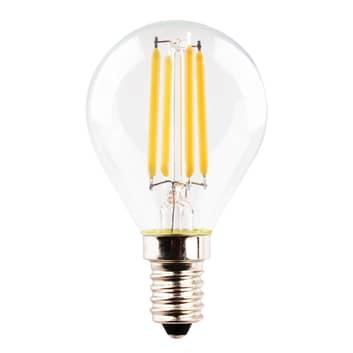 LED-dråpelampe E14 4,5W 2700K filament klar