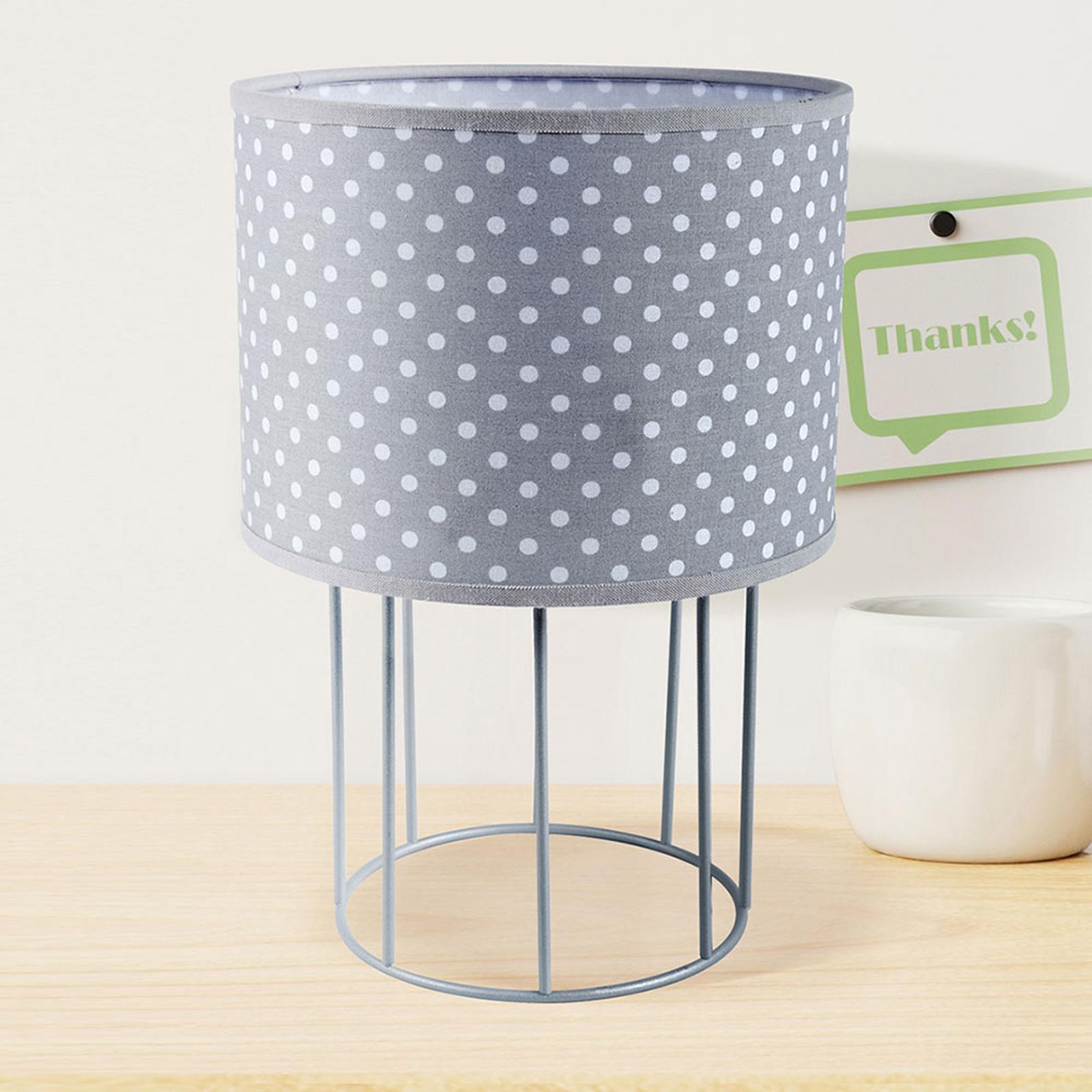 Tafellamp Carla S, grijs, gestippeld