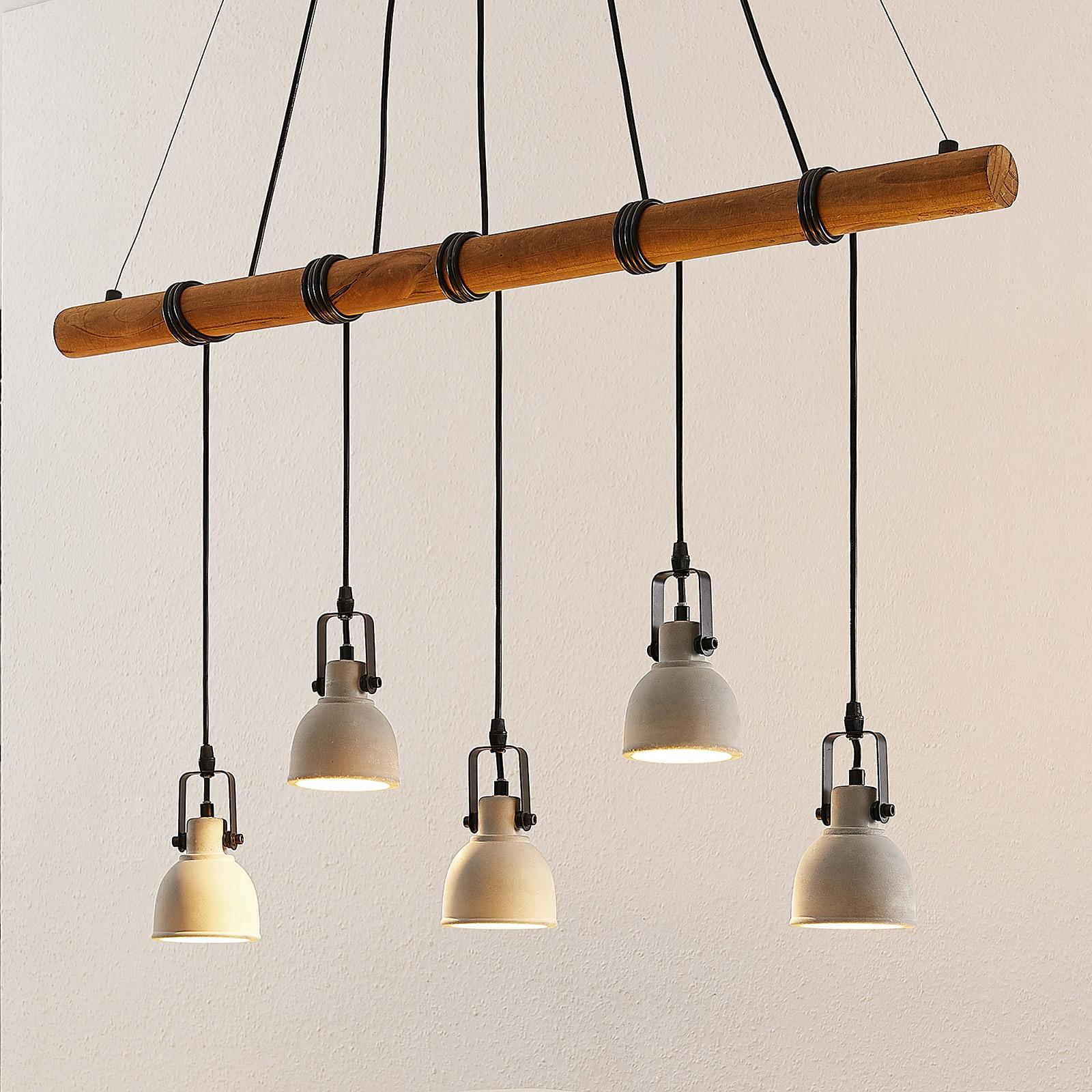 Lindby Mirka Suspension LED en béton et bois