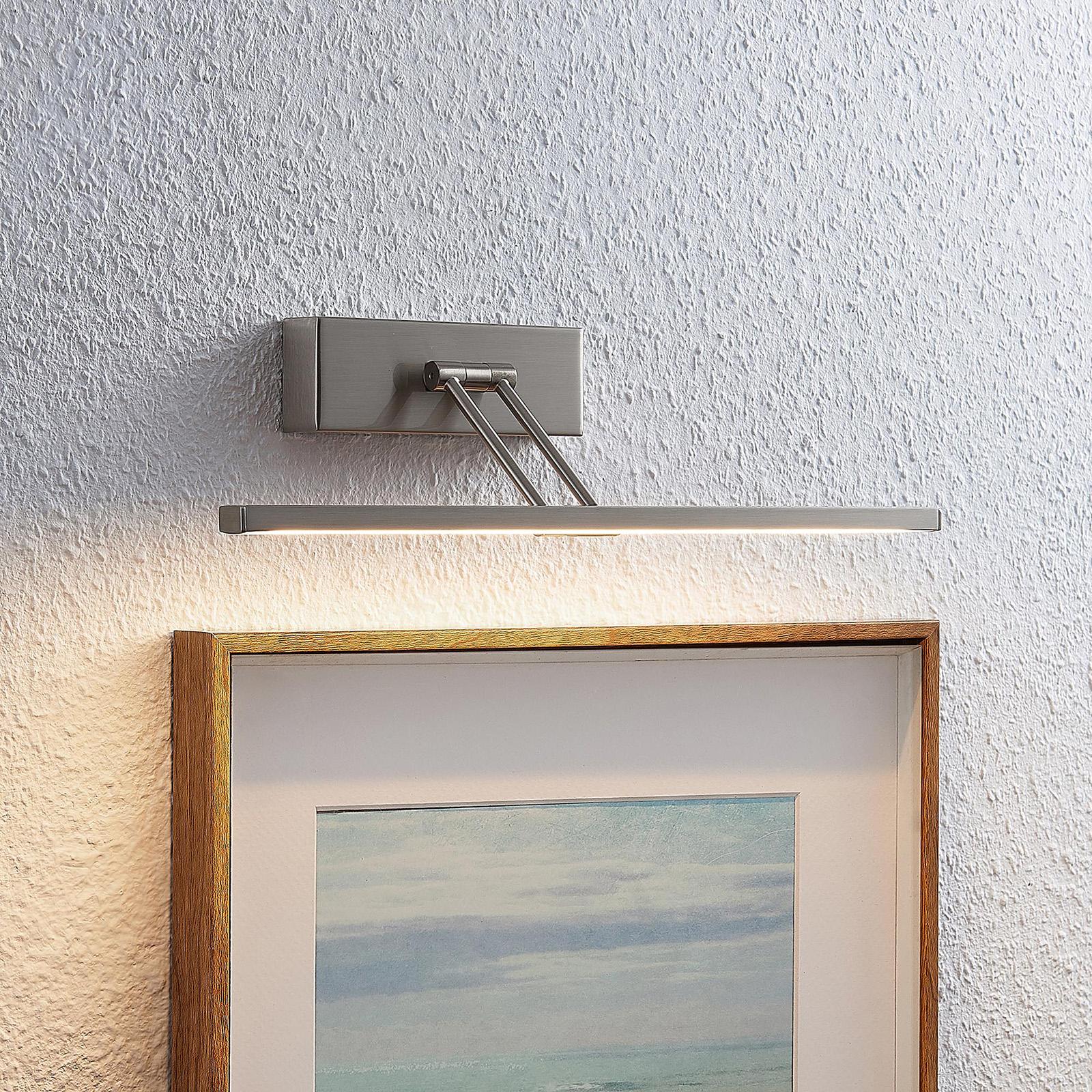 Lucande Thibaud LED-Bilderleuchte, nickel, 35,4 cm