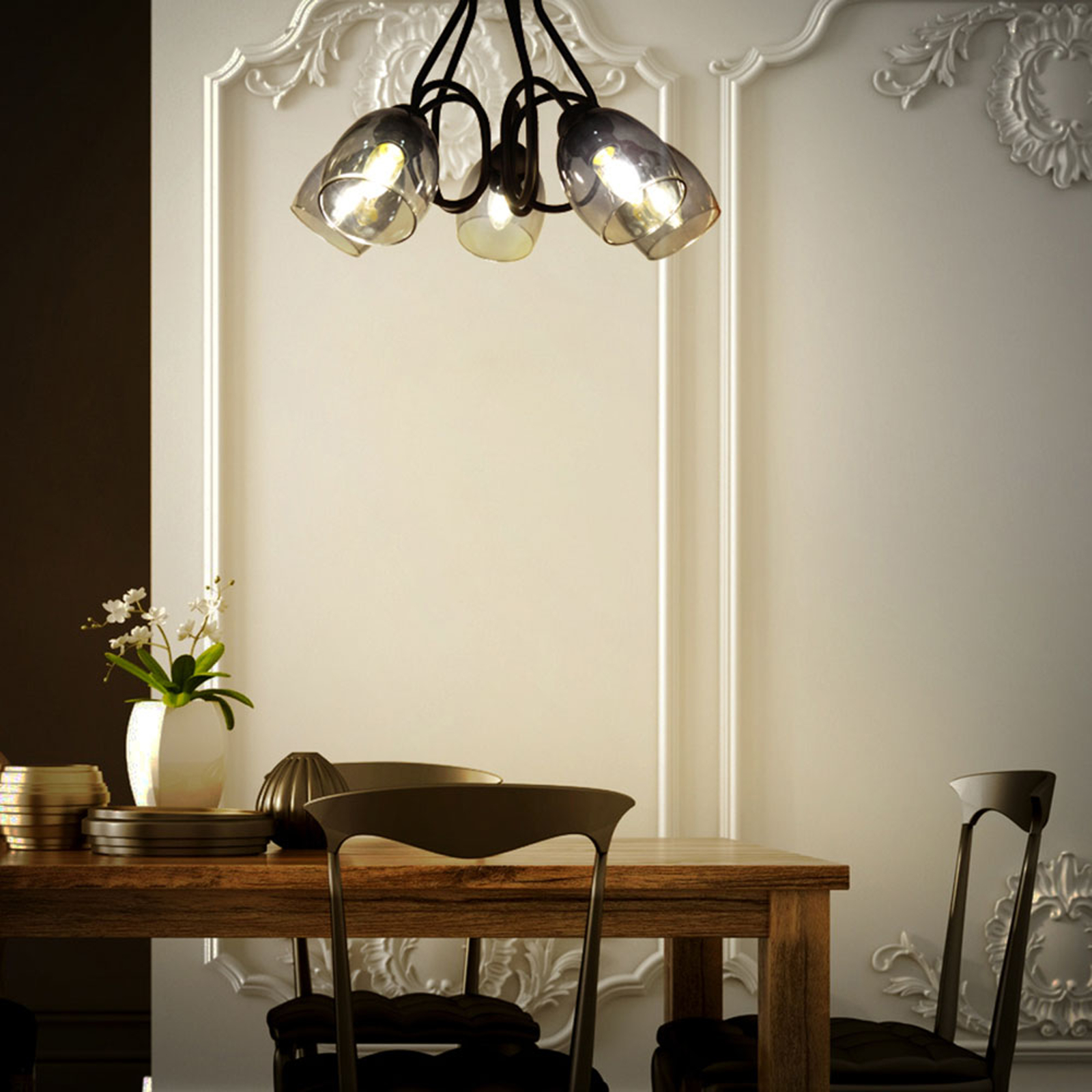 Plafondlamp Marietta 5lamps + glazen kappen smoke
