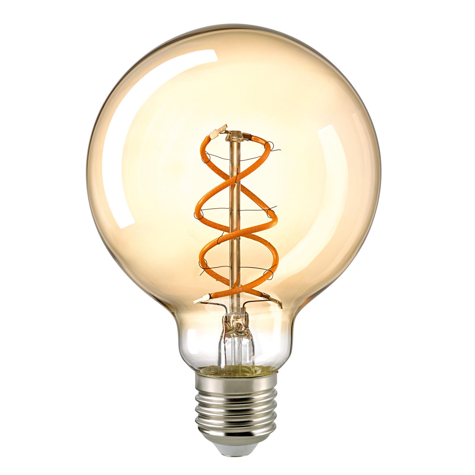 LED-globepære E27 G95 5,5 W Filament Curved gull