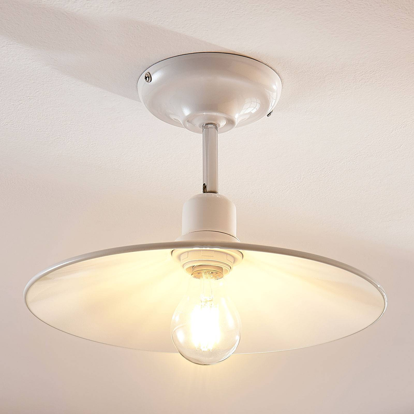 Witte metalen plafondlamp Phinea, vintage look