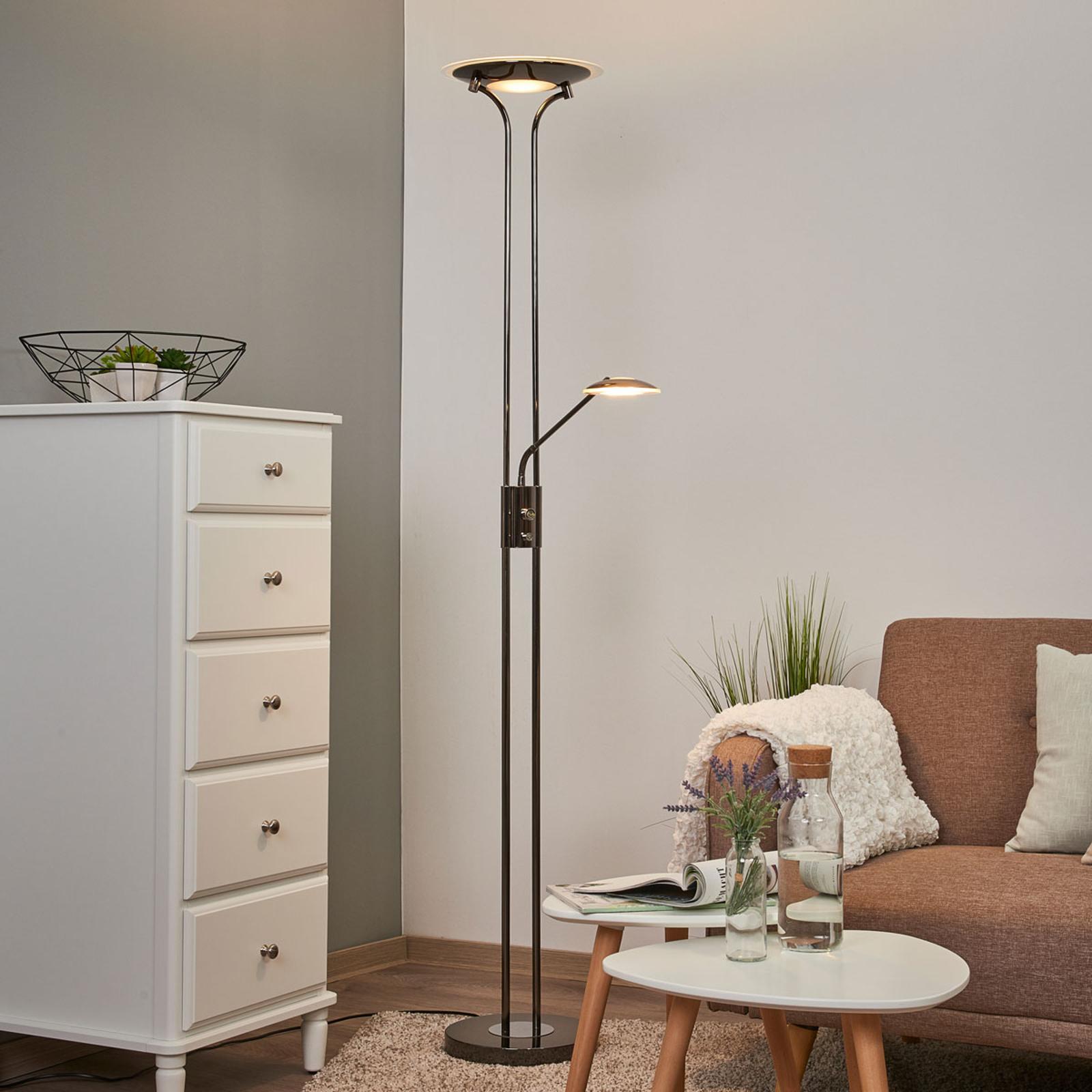 Glänzender LED-Deckenfluter Aras, schwarzchrom