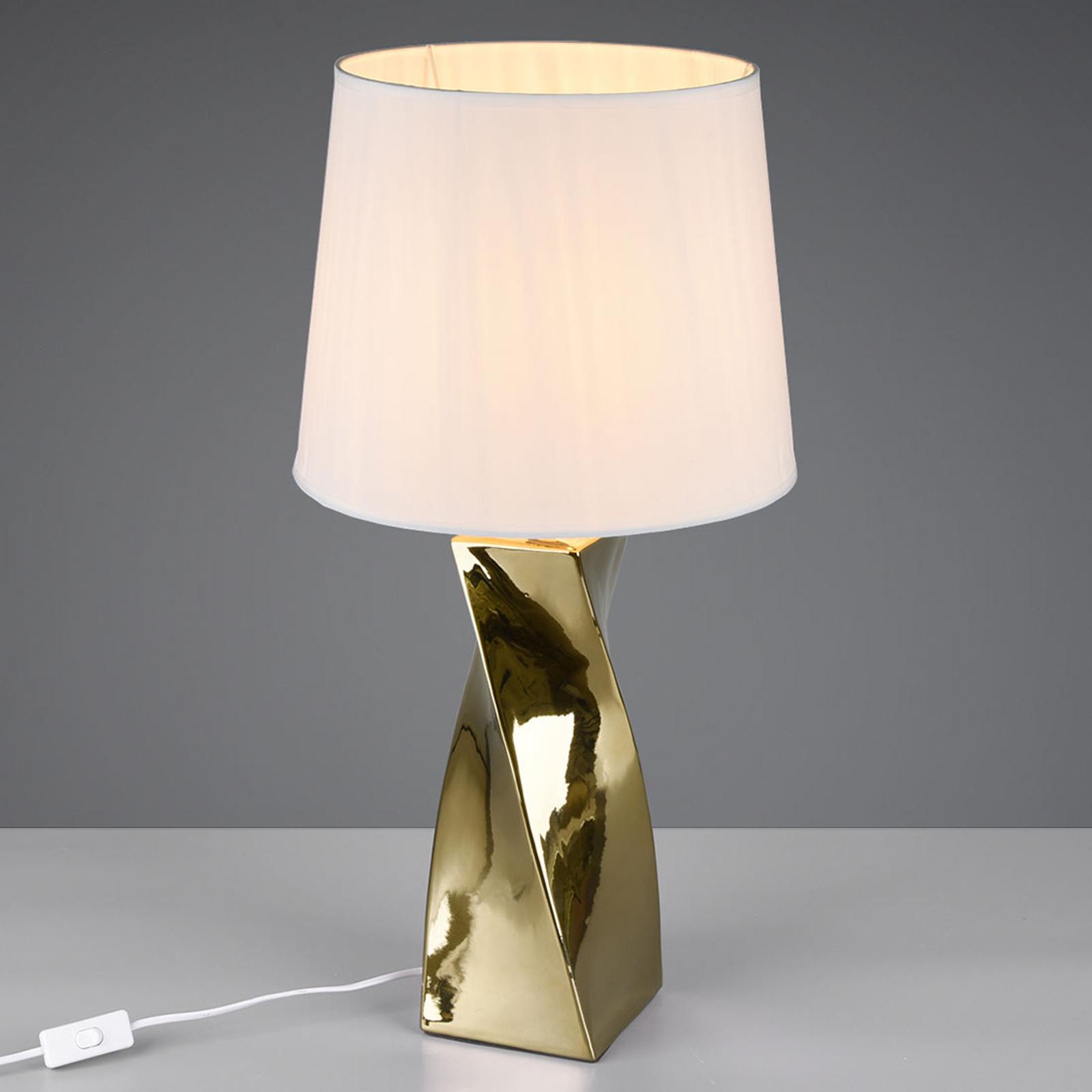 Lampe à poser Abeba, Ø 34cm, blanc-doré