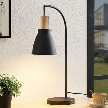Lindby Trebale lampada da tavolo con legno
