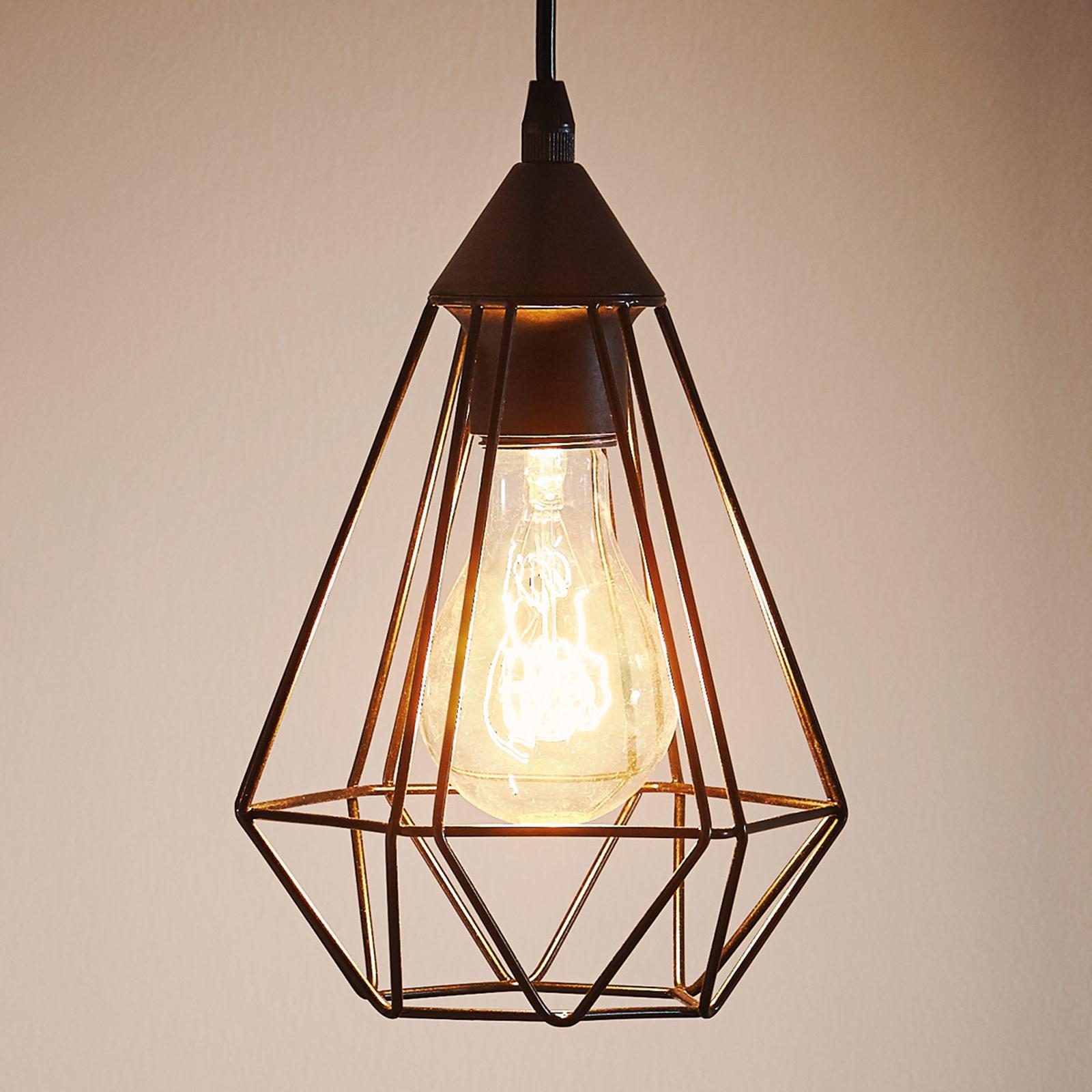 Lámpara colgante Tarbes, una luz, 17,5 cm, negro