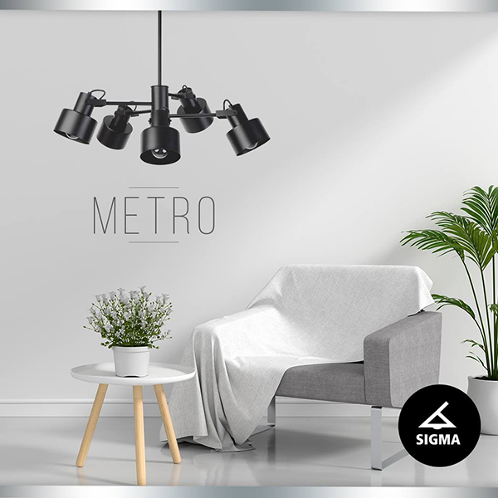 Lampa wisząca Metro, 5-punktowa, czarna