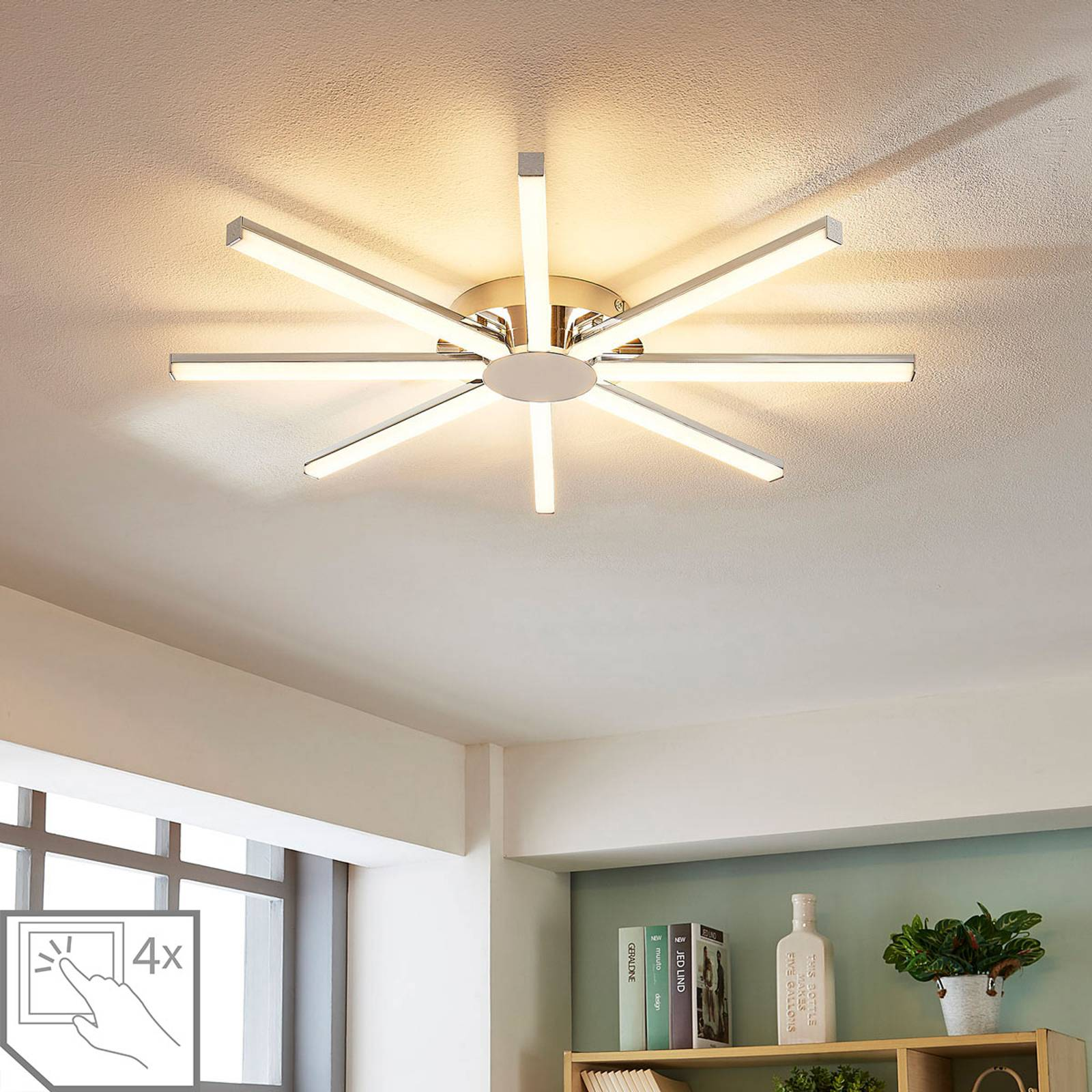 Zonnevormige LED plafondlamp Korona, dimbaar