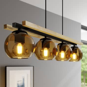 Lindby Enrique balk hanglamp, amber, 4-lamps