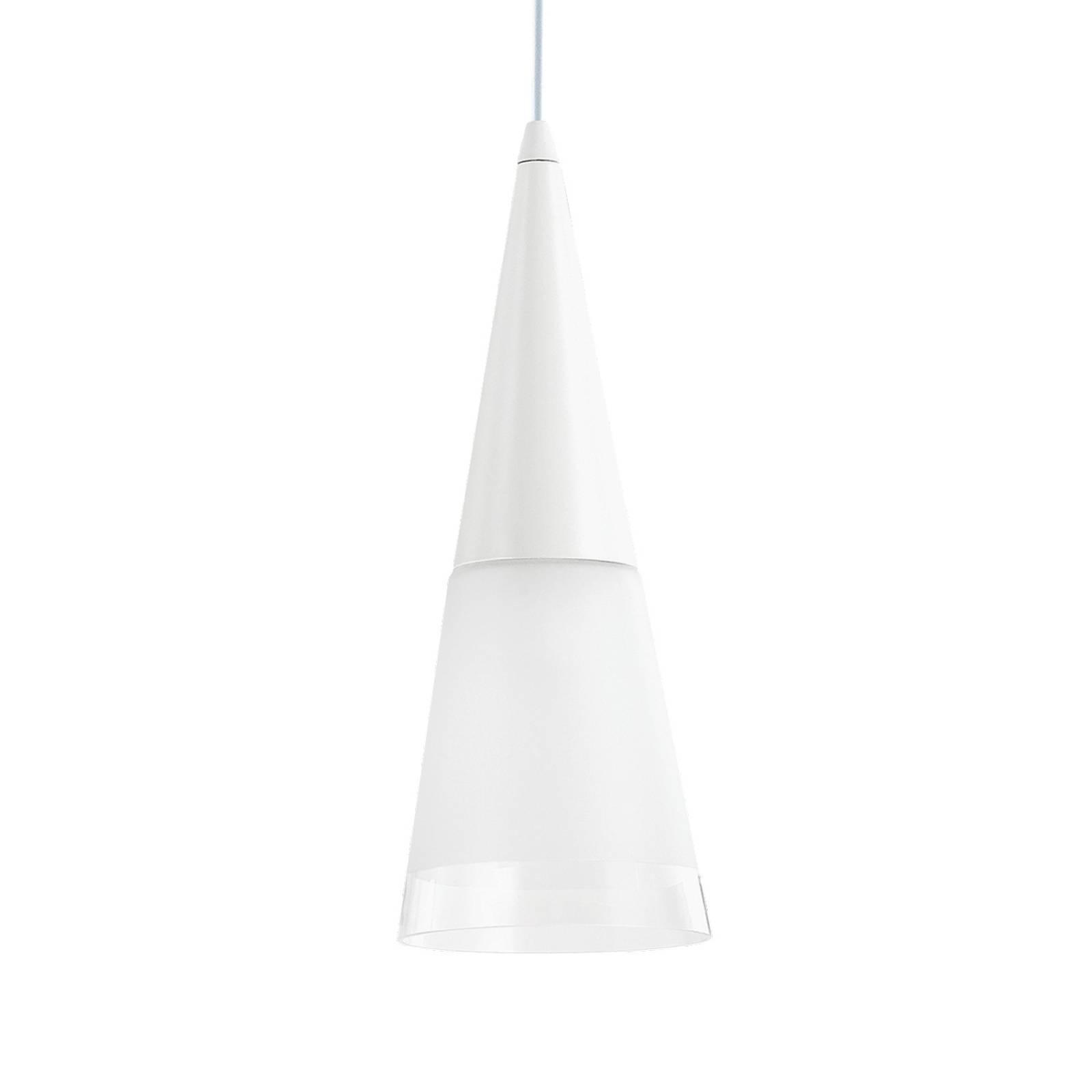 Lampa wisząca Cono 1-pkt. biała/przeźroczysta
