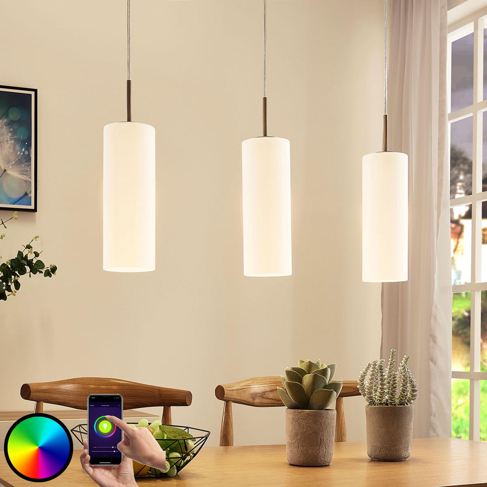 Lampada LED a sospensione Felice a 3 luci RGB