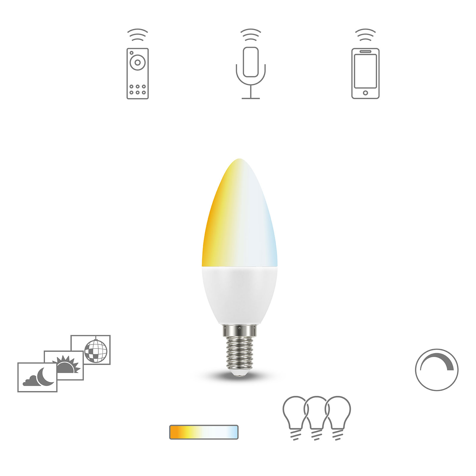 Müller Licht tint white LED-kertepære E14 5,8W