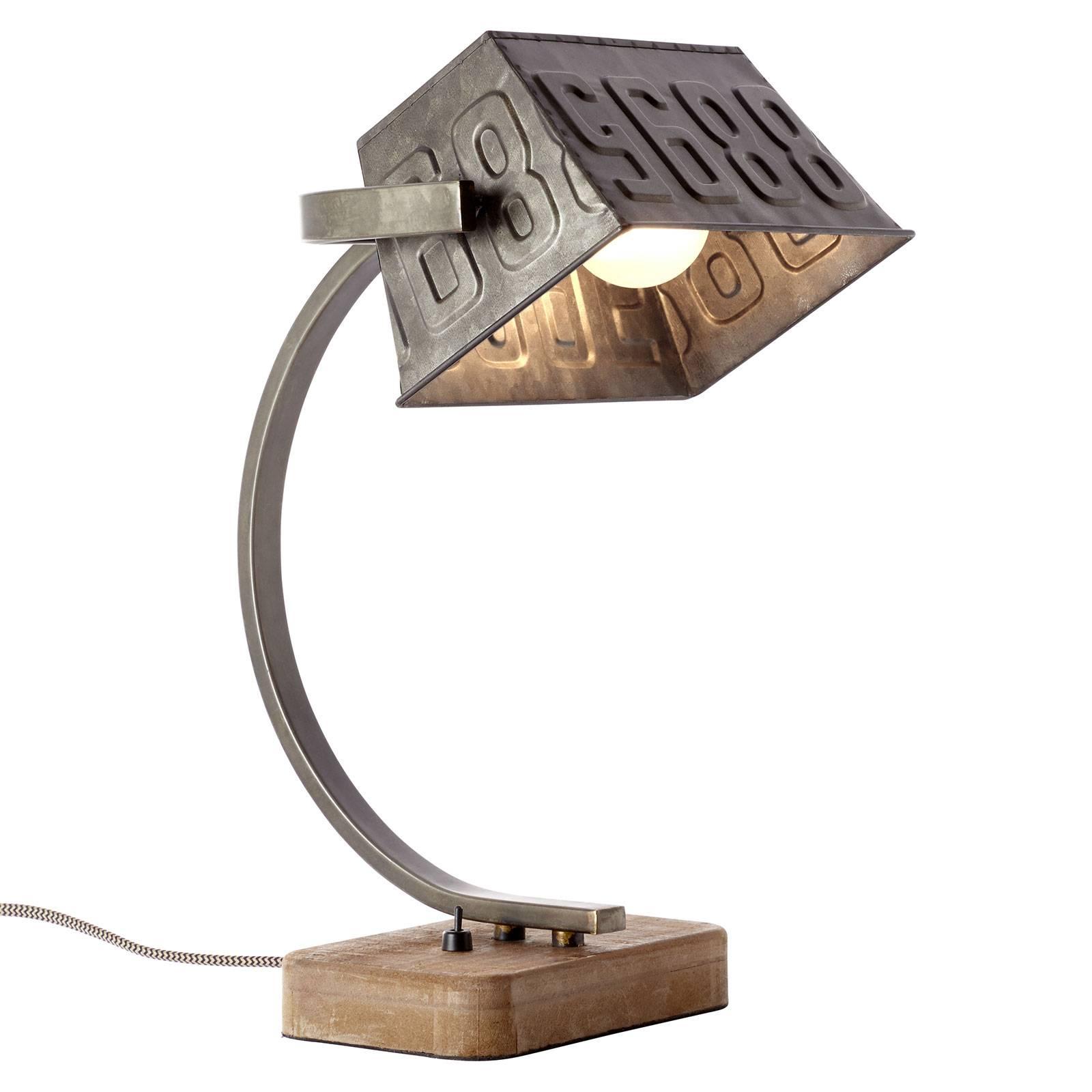 Metalen tafellamp Drake met houten voet