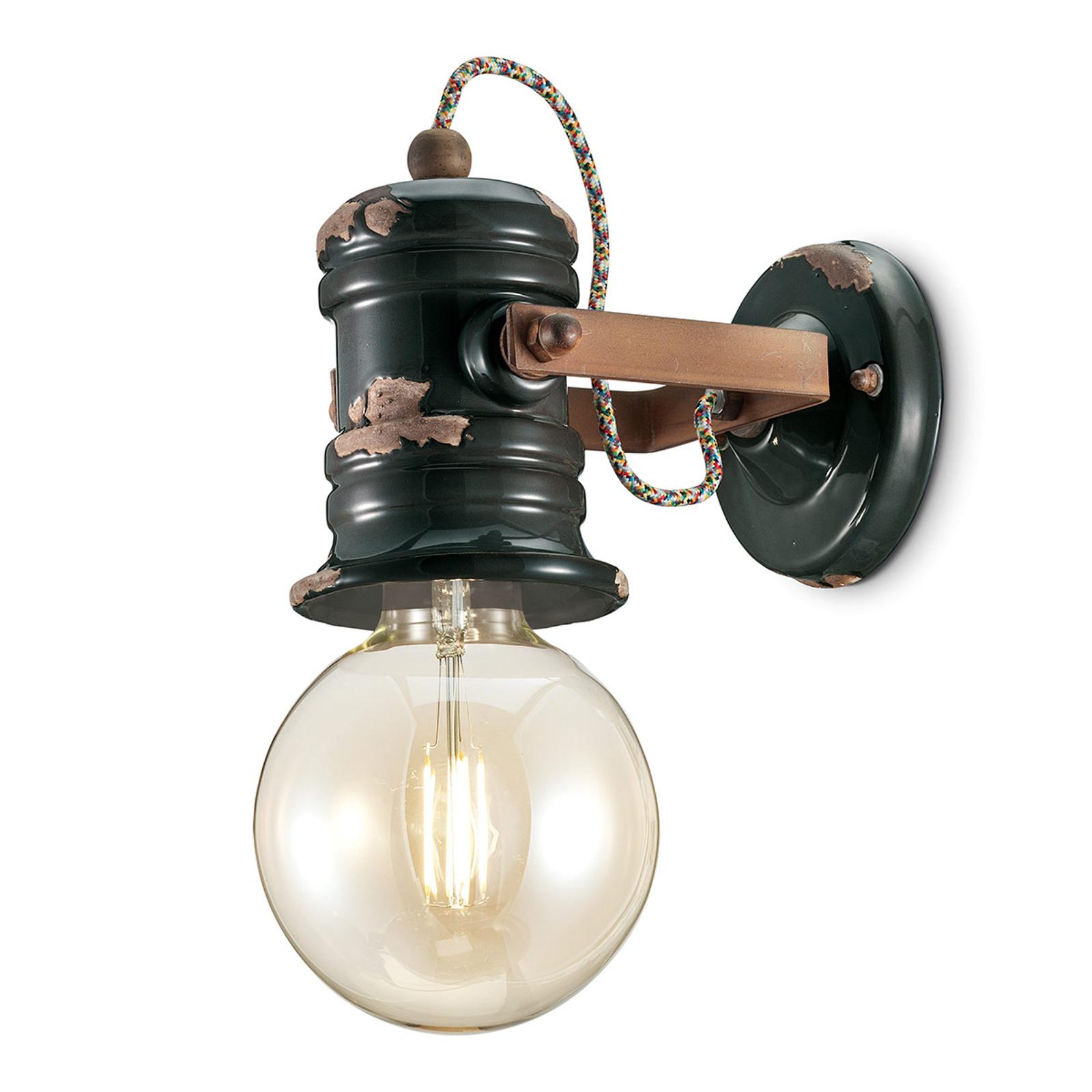 Lampa ścienna C1843, design vintage, czarna