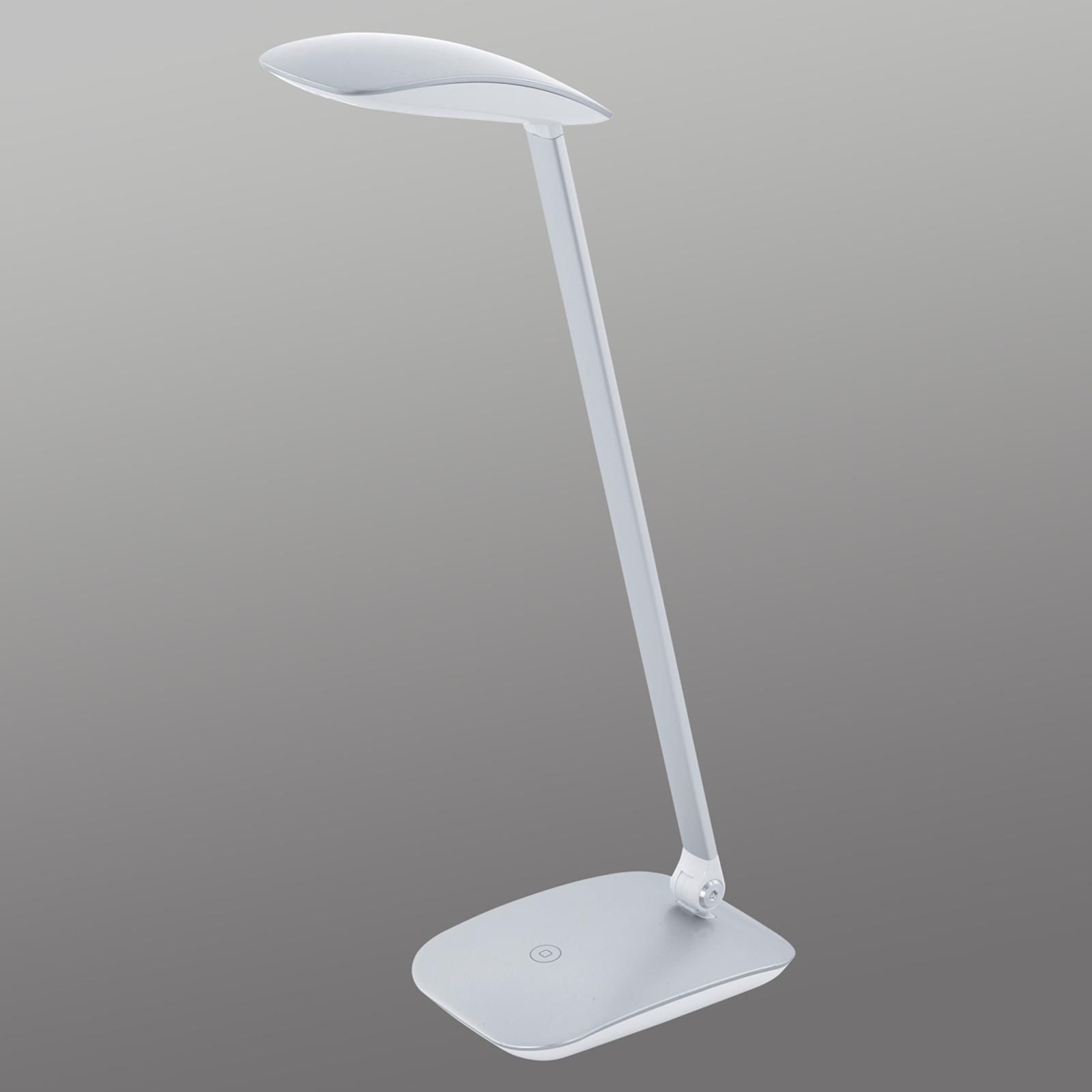 EGLO Stříbrná LED stolní lampa Cajero se stmívačem