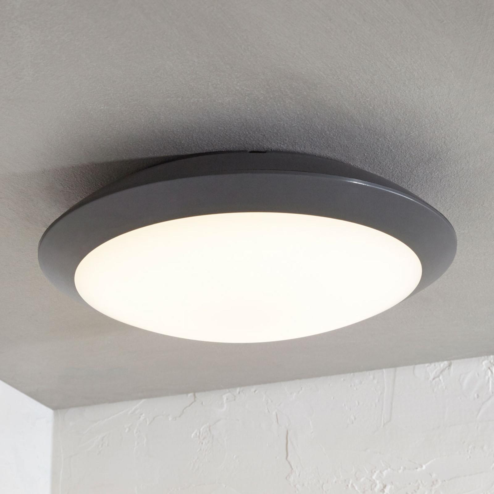 Plafonnier extérieur LED Naira, gris, sans capteur