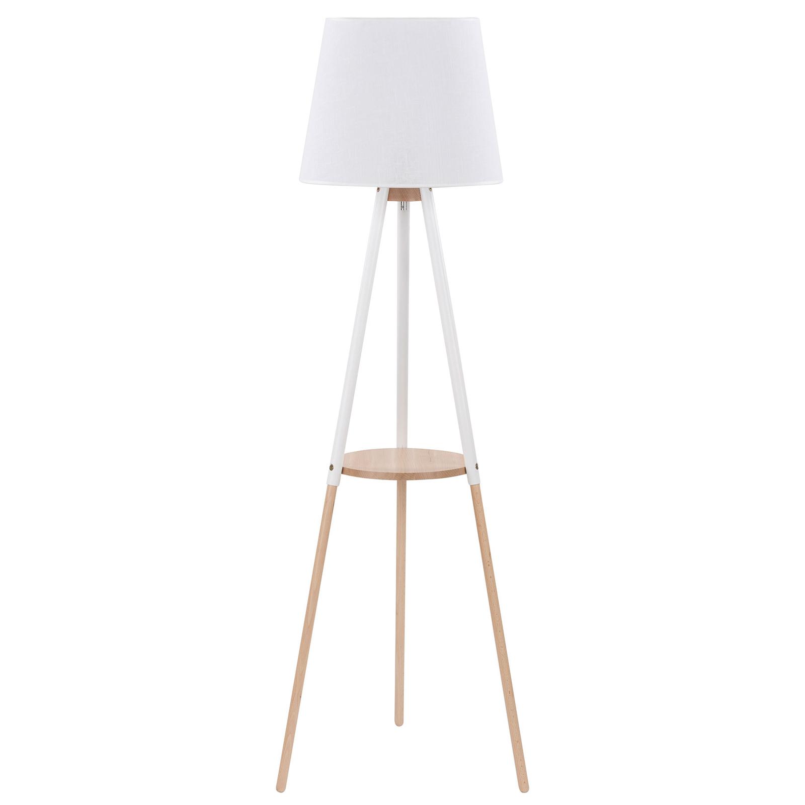 Vloerlamp Vaio driebeen-houten frame, witte kap