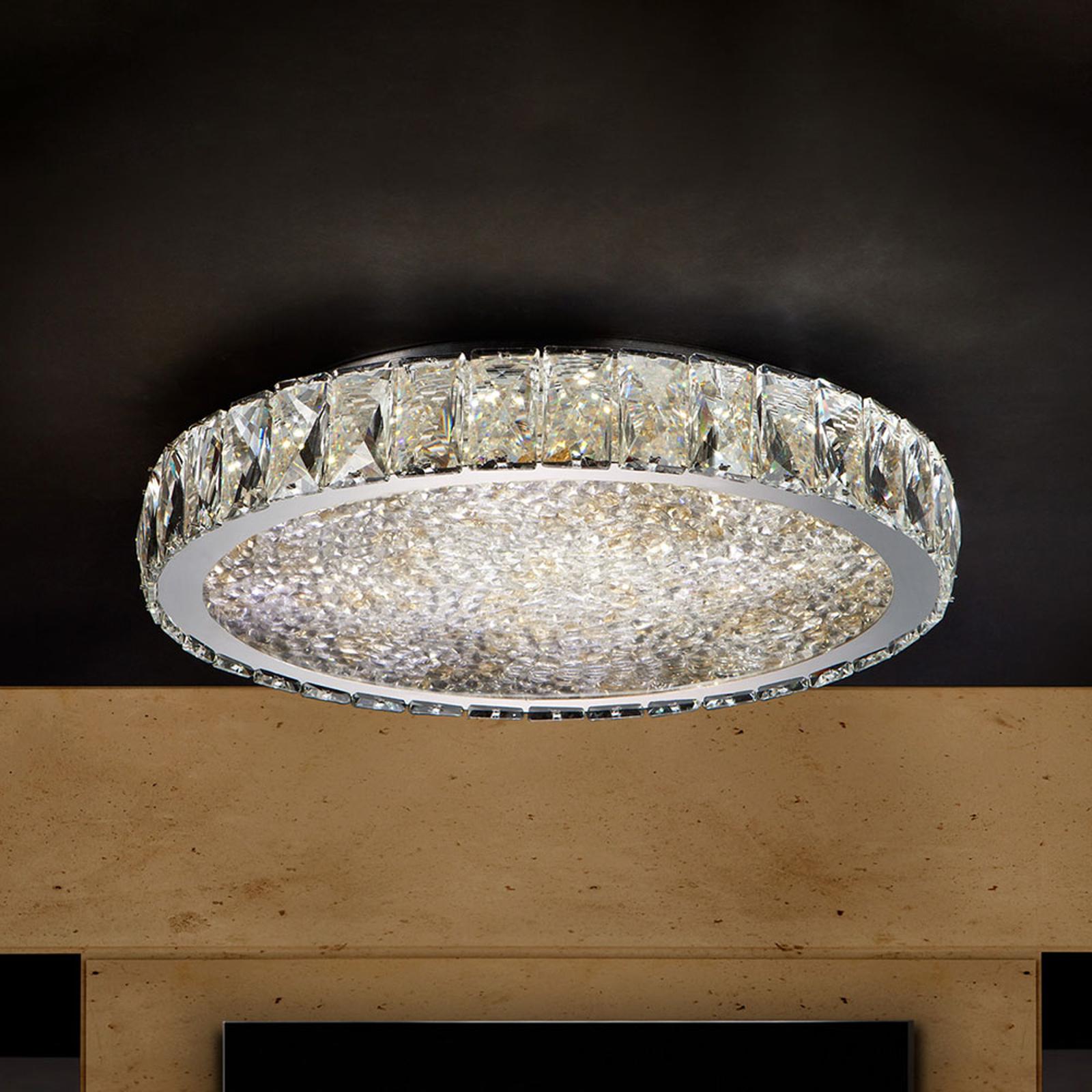 Plafonnier LED Dana avec cristaux Ø 39cm