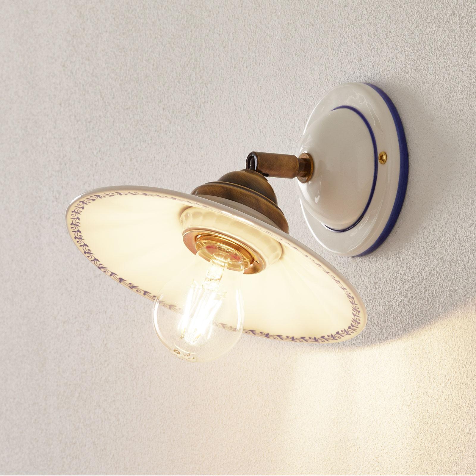 Lampa ścienna IL PUNTI z ceramicznym kloszem