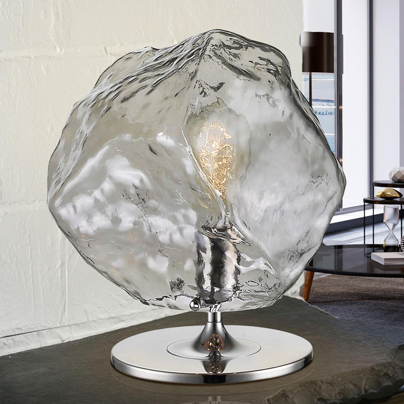 Lampe à poser LED Petro au bel abat-jour en verre