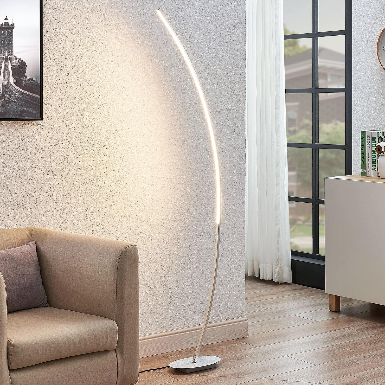 Łukowa lampa stojąca LED Nalevi, srebrna