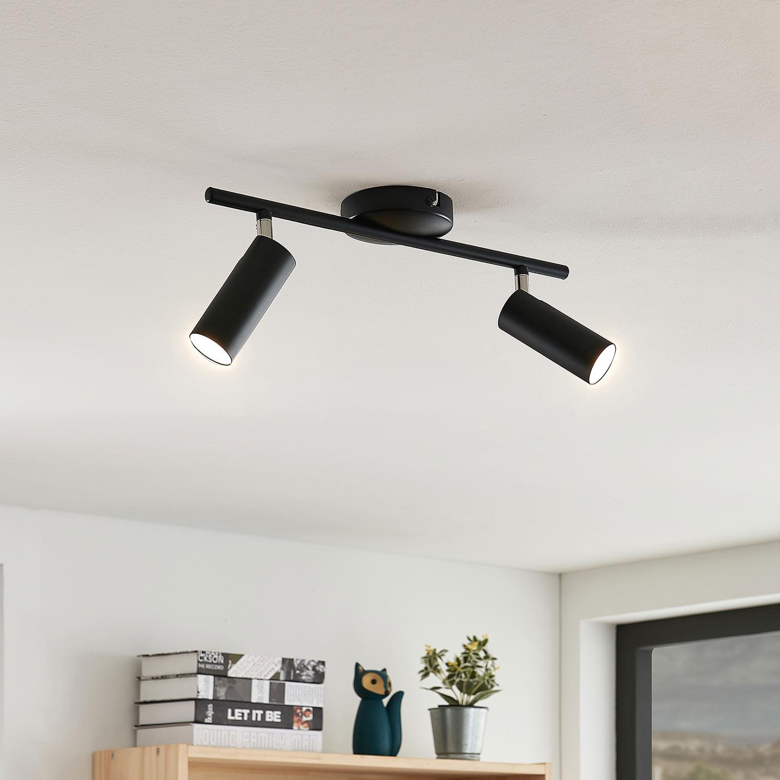 LED-takspot Camille, svart, 2 lyskilder