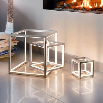 Delux - LED tafellamp in kubusvorm, aluminium