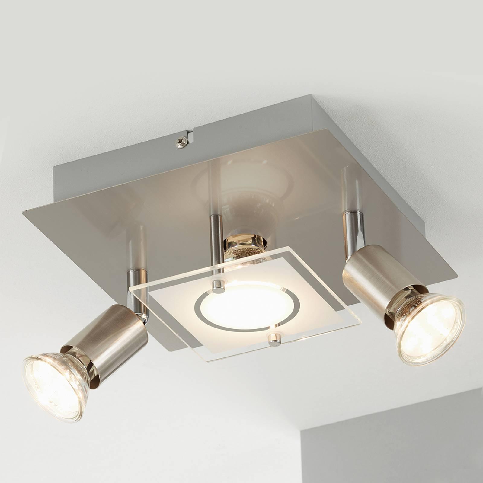 Mat vernikkelde LED plafondlamp Start - 3-lamps