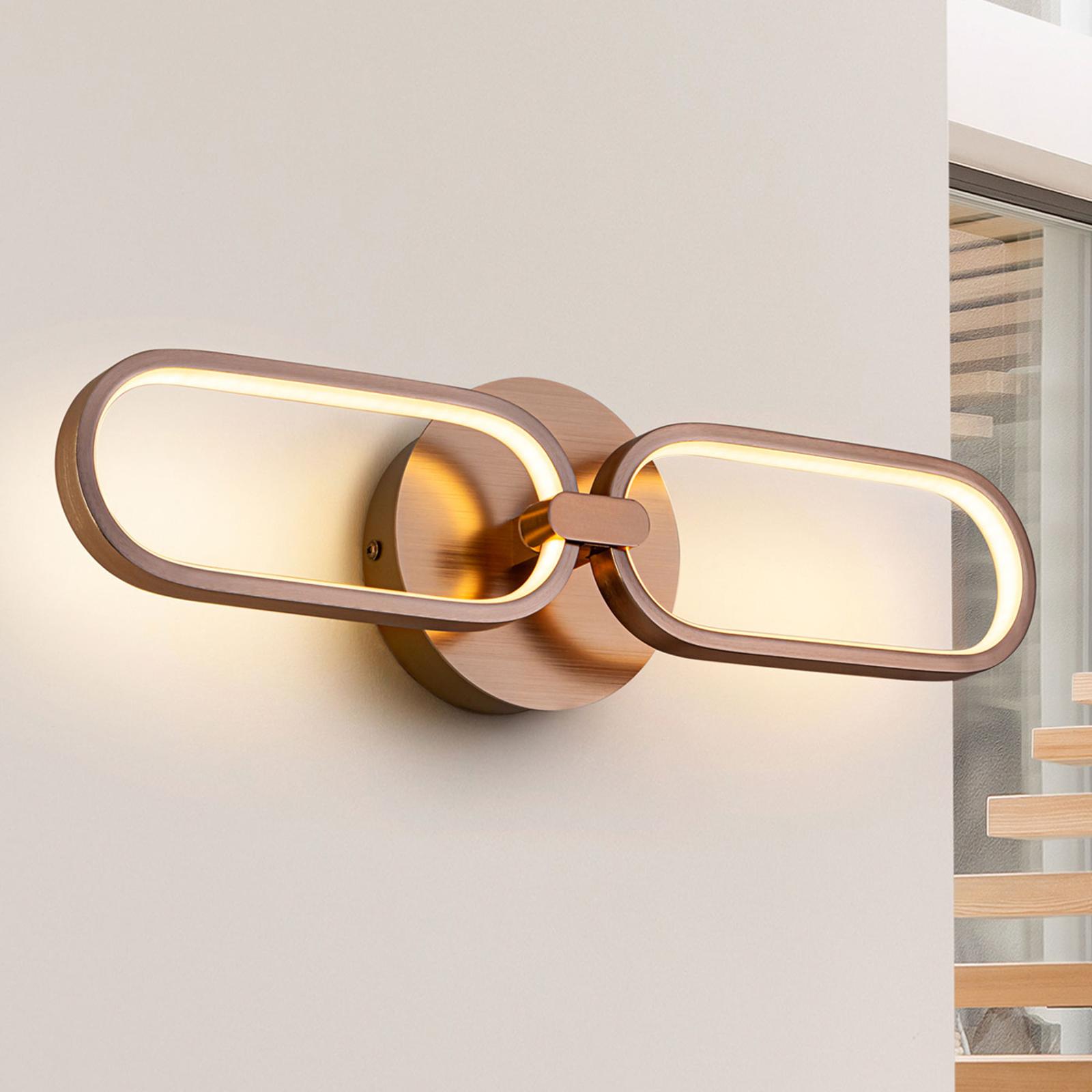 LED wandlamp Colette, 2-lamps, goud
