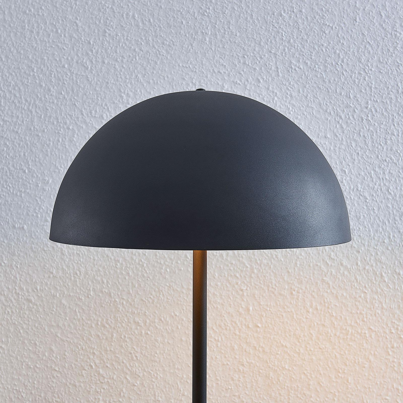 Stehlampe Idalene Schwarz Gold Metall Schirm Kuppel Lindby Stehleuchte