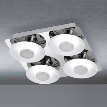 Firkantet taklampe Wanja med 4 LED-lys