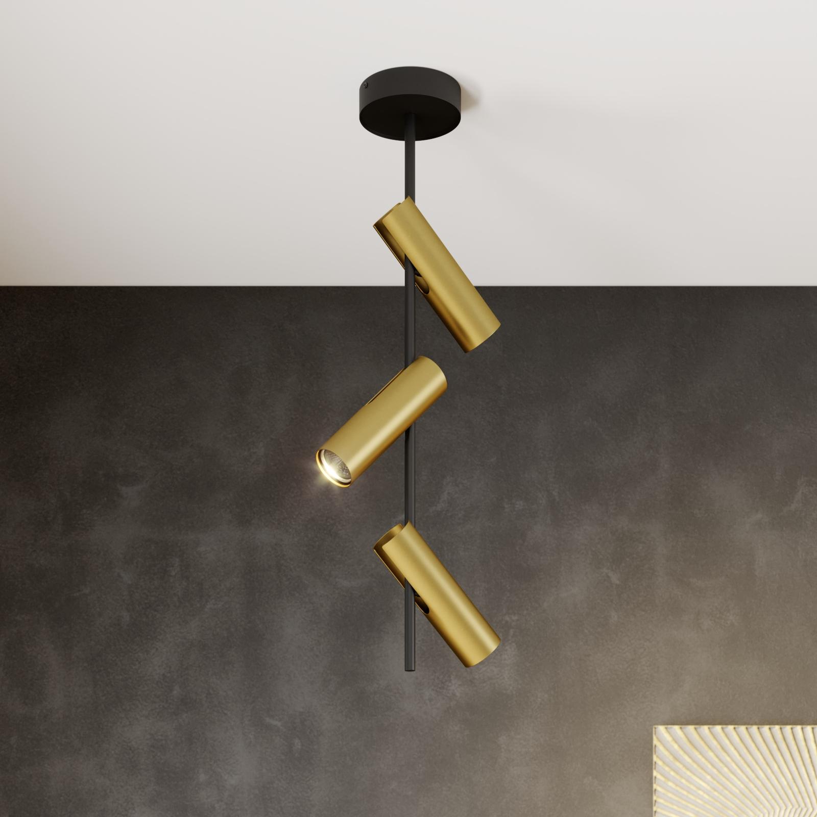 Deckenspot Leda 3, dreiflammig, schwarz-gold