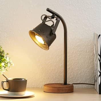 Lindby Rubinjo lampada da tavolo con base di legno