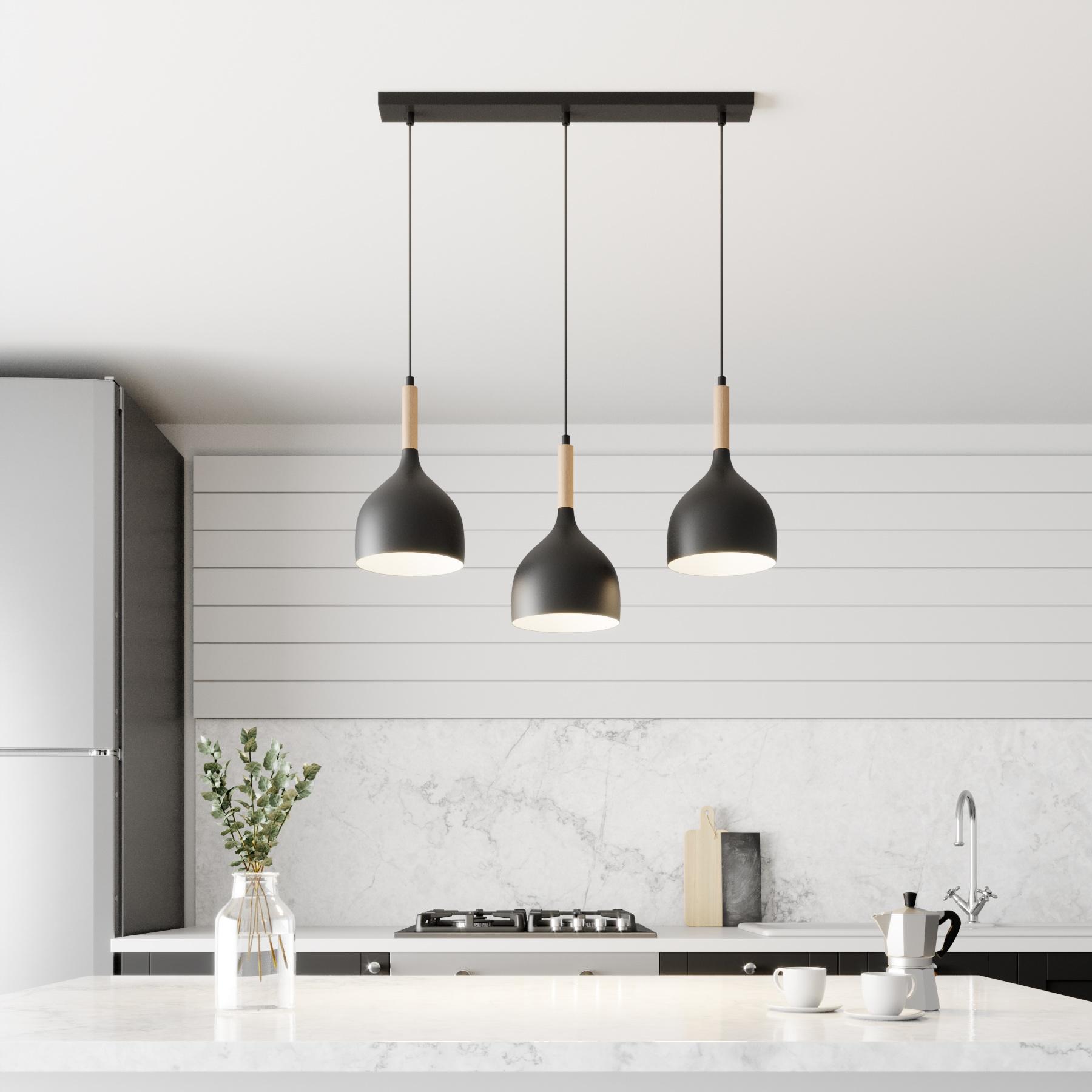 Hanglamp Noak 3-lamps lineair zwart/hout natuur