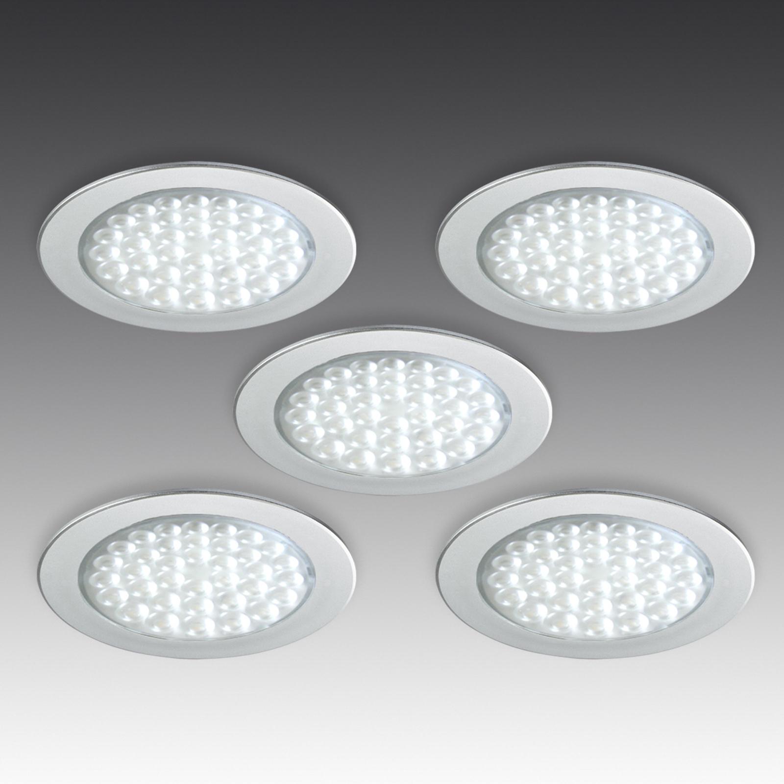 R 68 LED inbouwspot in RVS optiek, 5/set