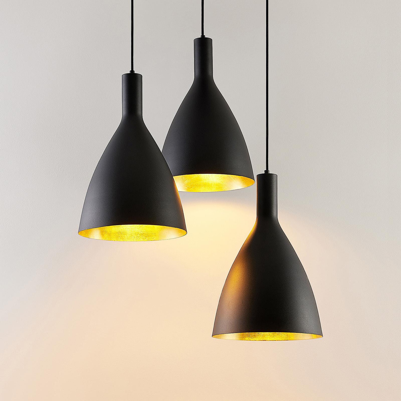Arcchio Arthuria suspension, 3 lampes ronde noire