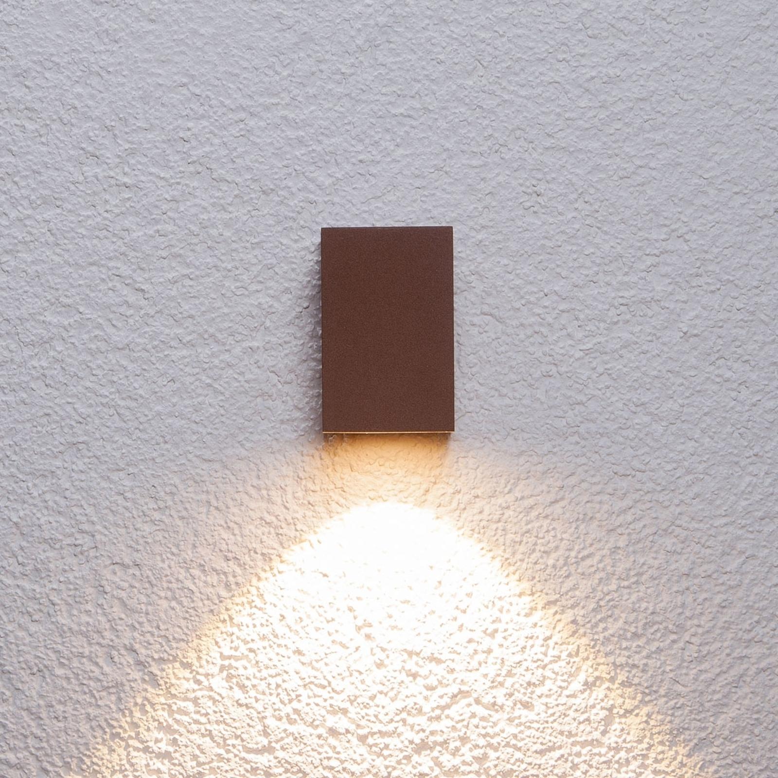 Roestbruine led-buitenwandlamp Tavi, 9,5 cm