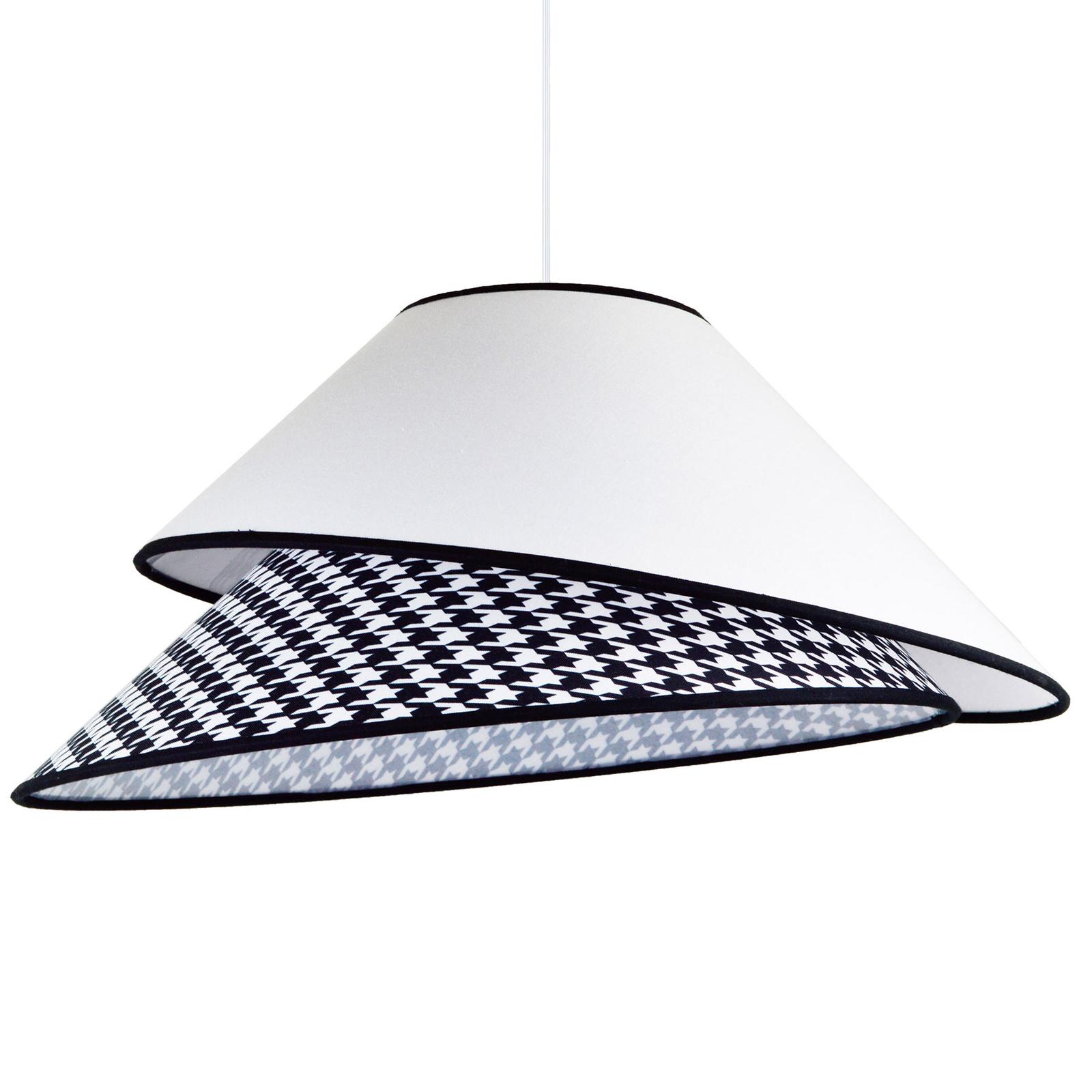 Tekstylna lampa wisząca Coco, biała pepita