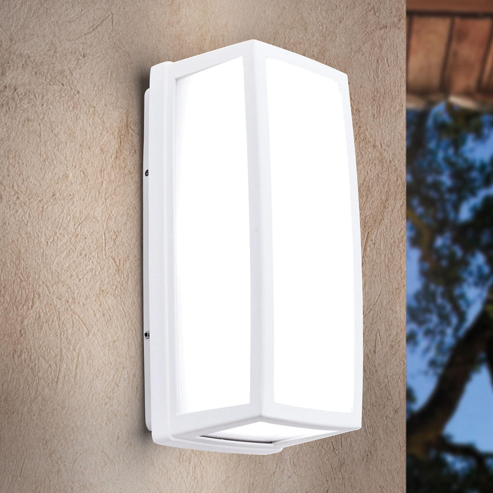 Weiße LED-Außenwandleuchte Bob aus Aluminium, IP54