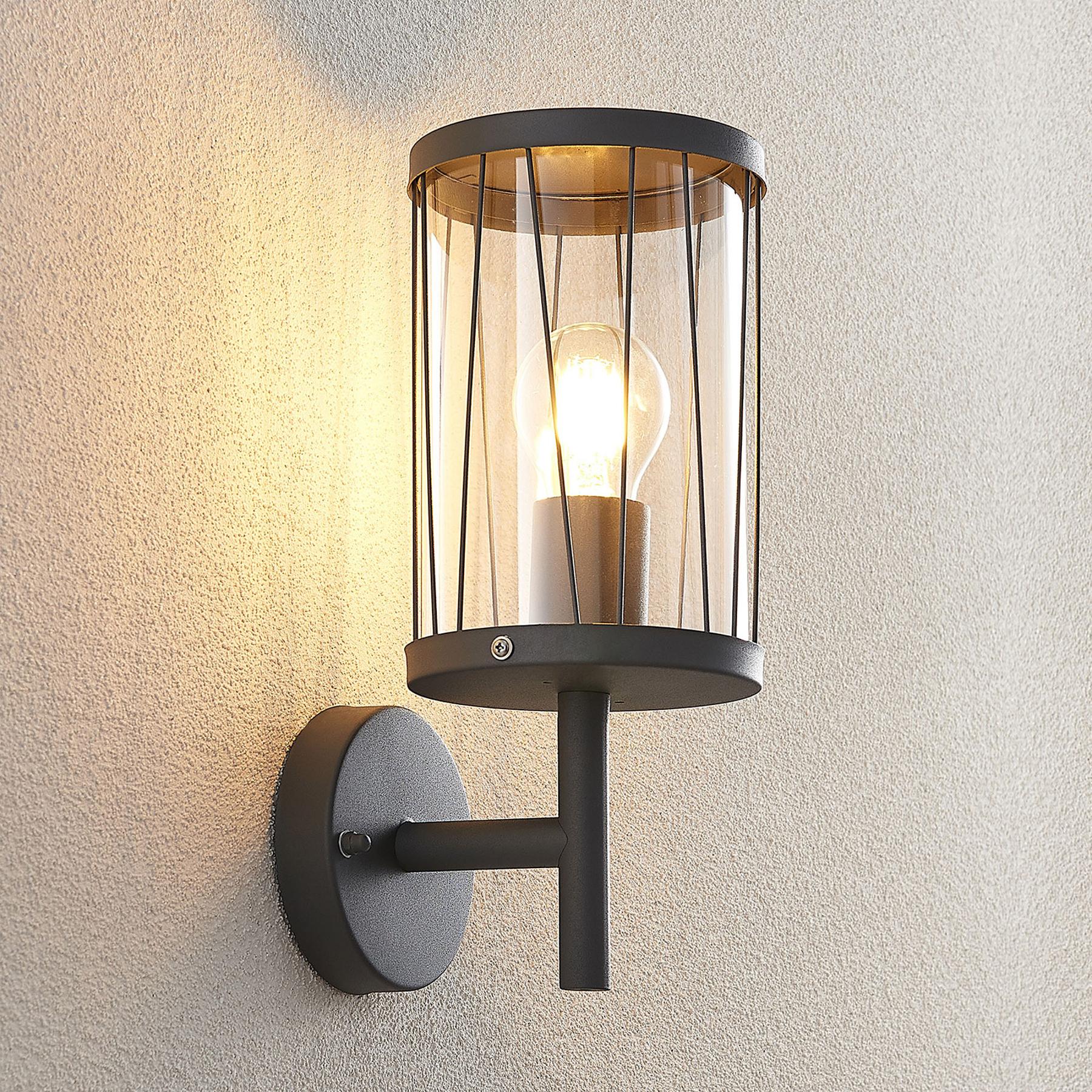Lindby Yonan buitenwandlamp, rond, donkergrijs,E27