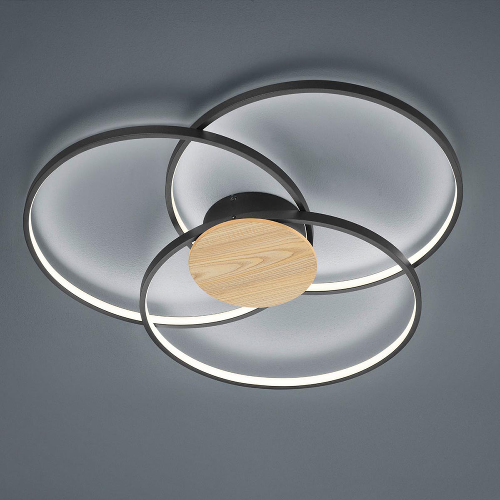 LED-taklampe Sedona med tredetaljer i matt svart