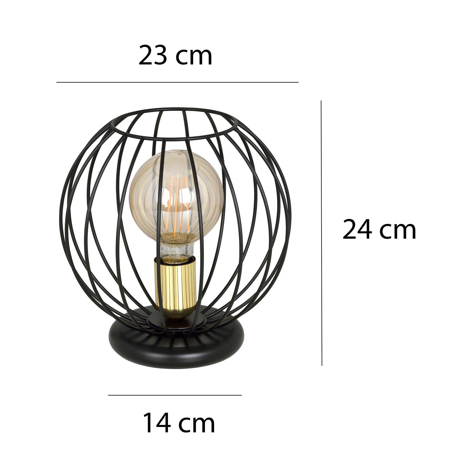 Tafellamp Albio LN1 met kooikap, zwart