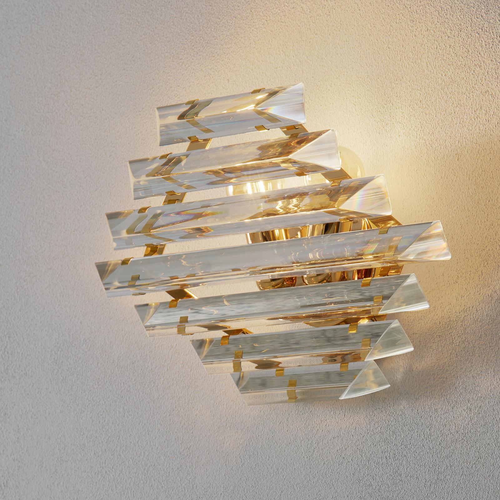 Gylden krystallvegglampe Losanghe