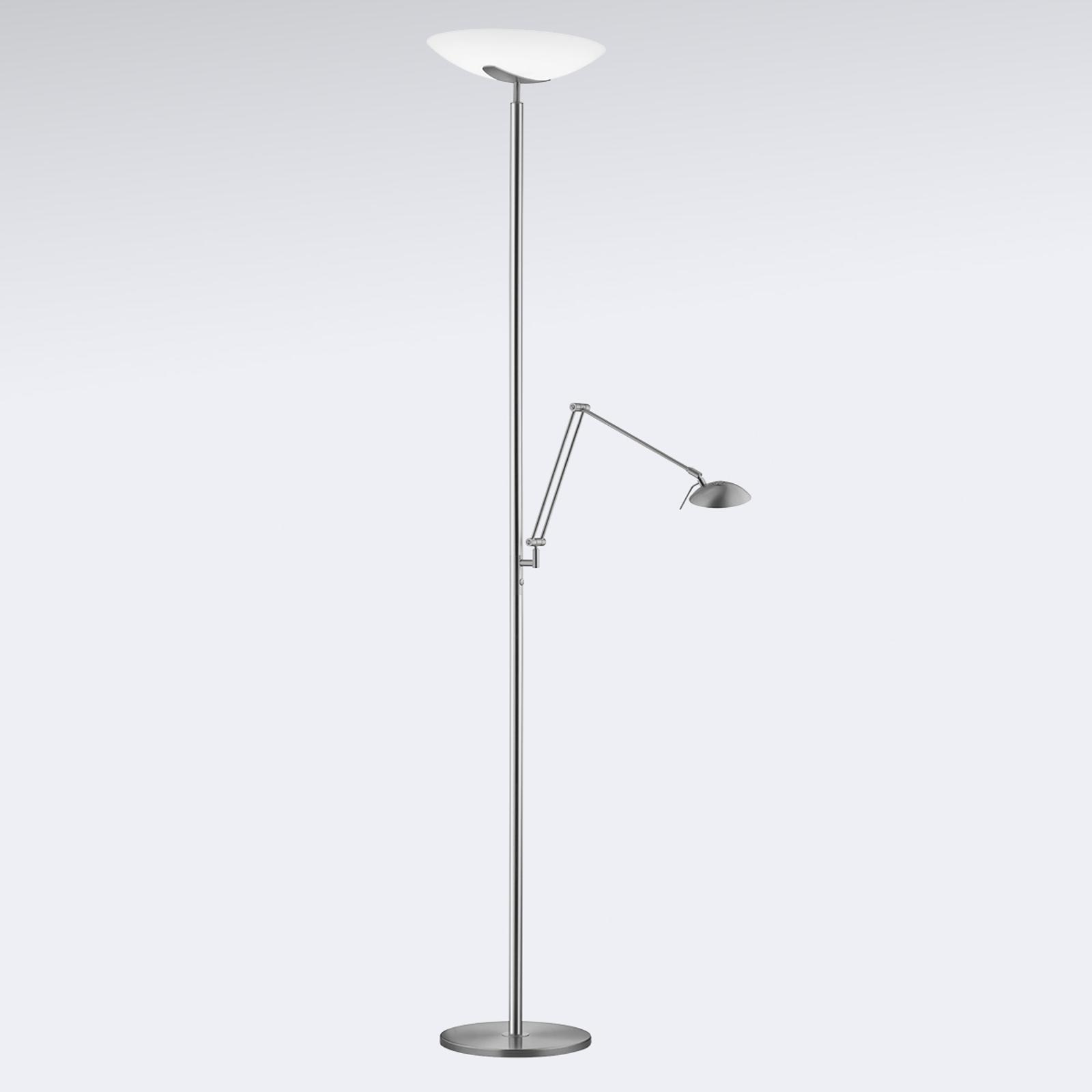 LED-uplight-golvlampa Lya, läslampa nickel-krom