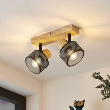 Lindby Evinora plafondspot van hout, 2-lamps