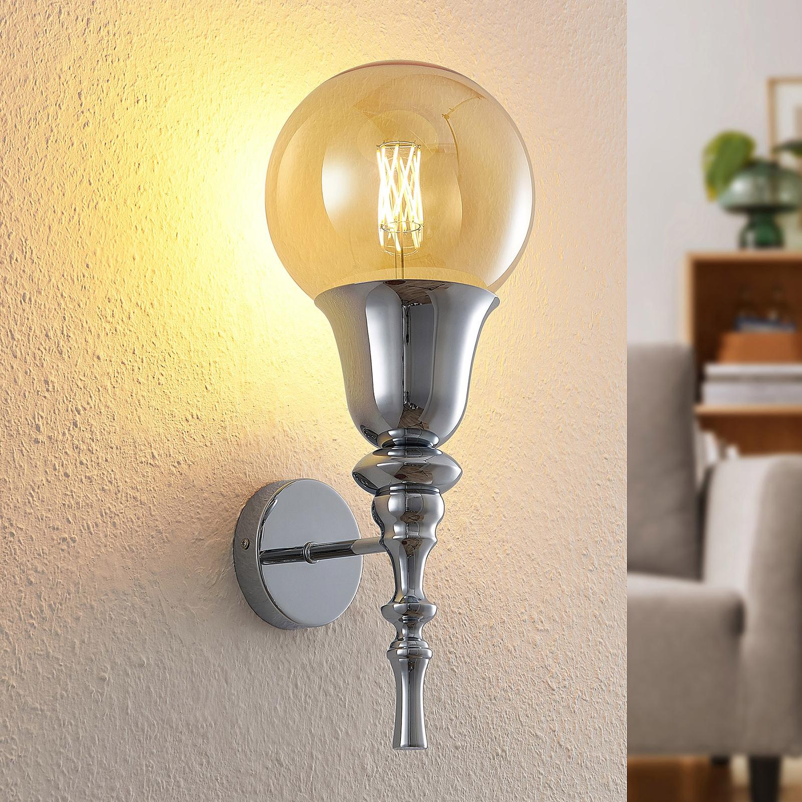Lucande Gesja væglampe, 1 lyskilde, krom