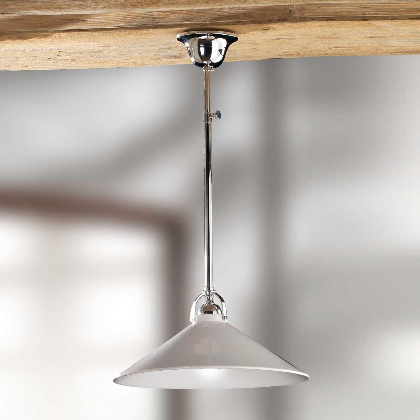 Hvid hængelampe GIACOMO med keramikskærm