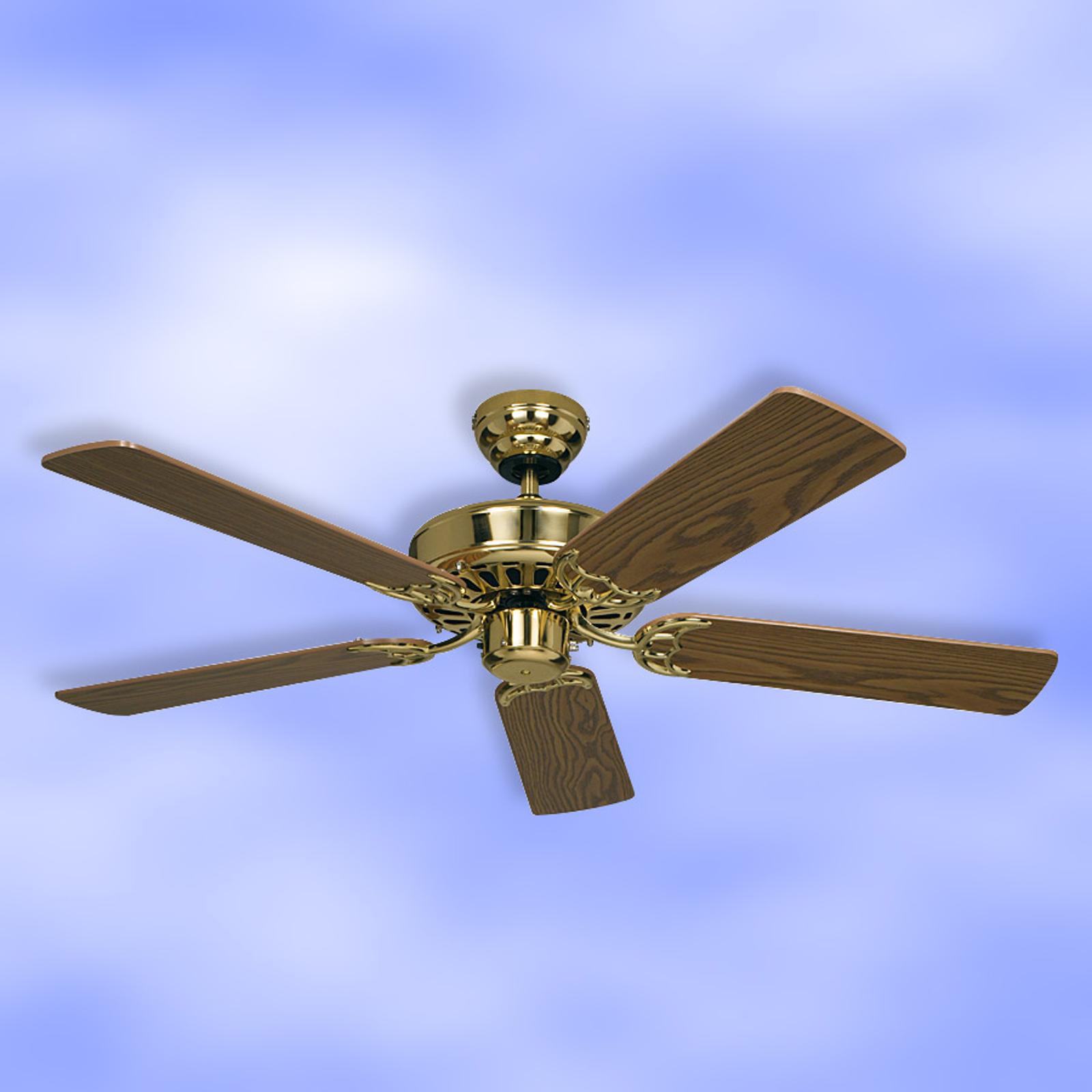 Ventilatore a pale Royal 103, ottone, rovere