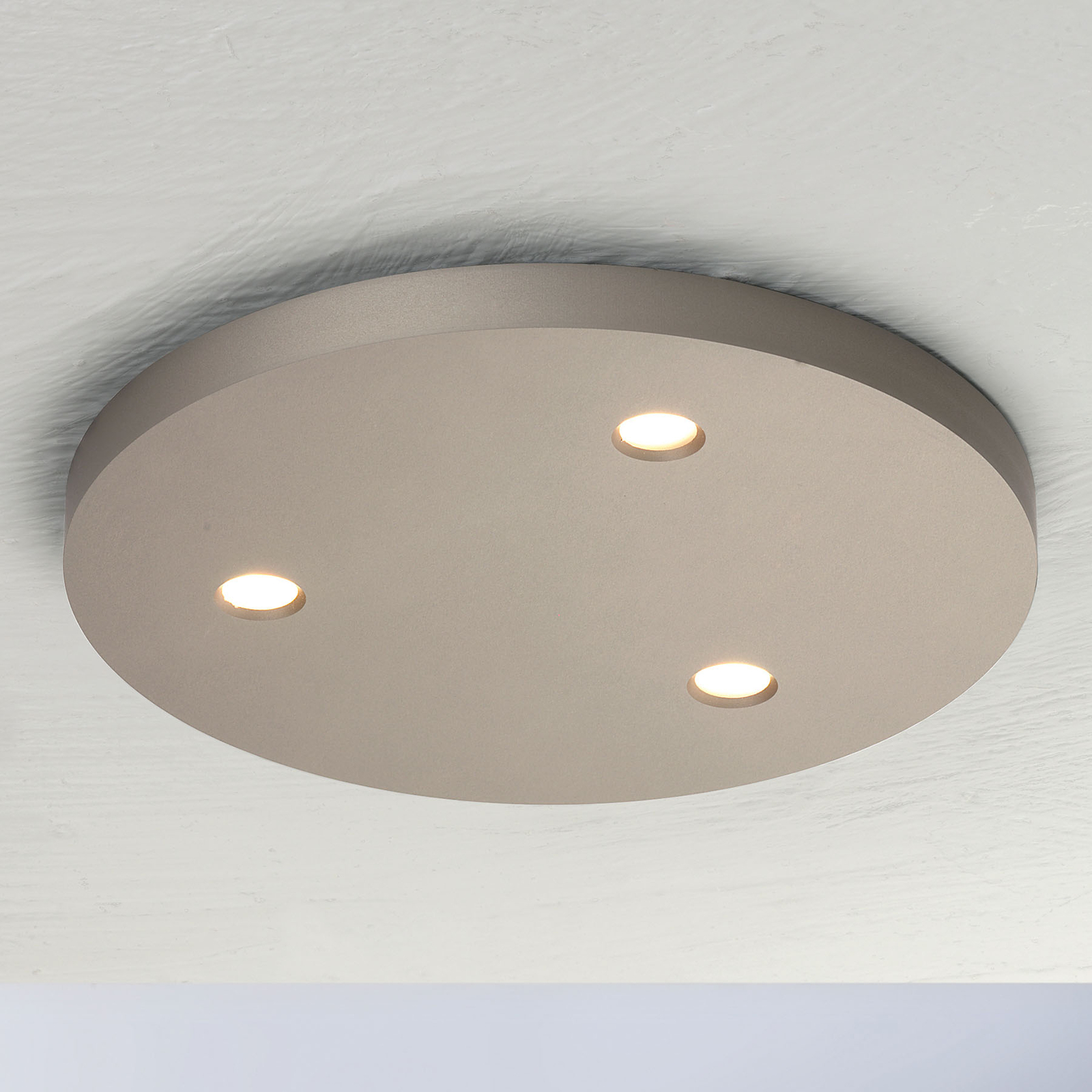 Bopp Close LED plafondlamp 3-lamps rond taupe